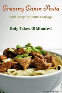 30 Minute Creamy Cajun Pasta with Andouille Sausage