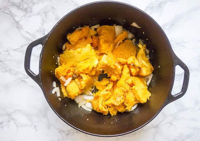 roasted butternut squash in a dutch oven