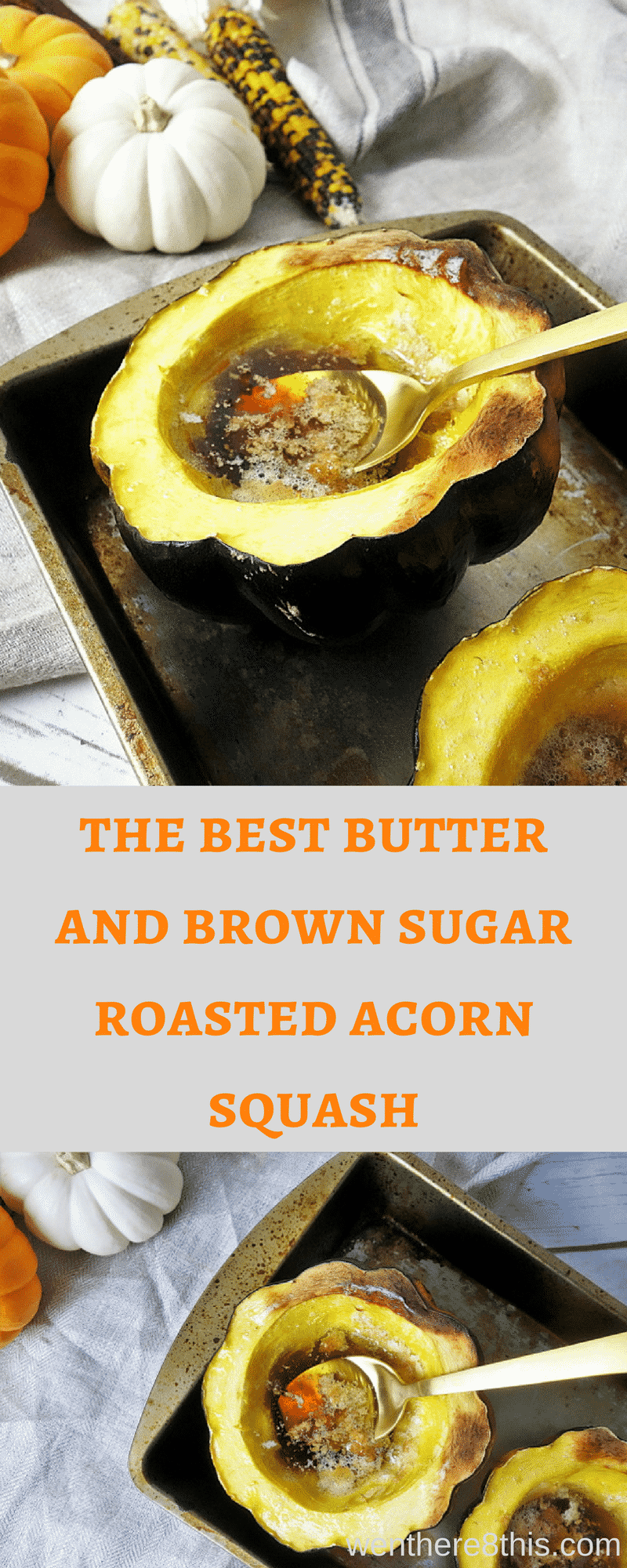 This easy 3 ingredient butter and brown sugar roasted acorn squash is a great winter treat; perfect for those holiday dinners!roasted acorn squash recipe | roasted squash easy | butter roasted squash | winter squash recipes | acorn squash recipe easy | easy holiday recipe | sweet roasted squash | sugar roasted acorn squash easy | classic baked acorn squash | fall recipes