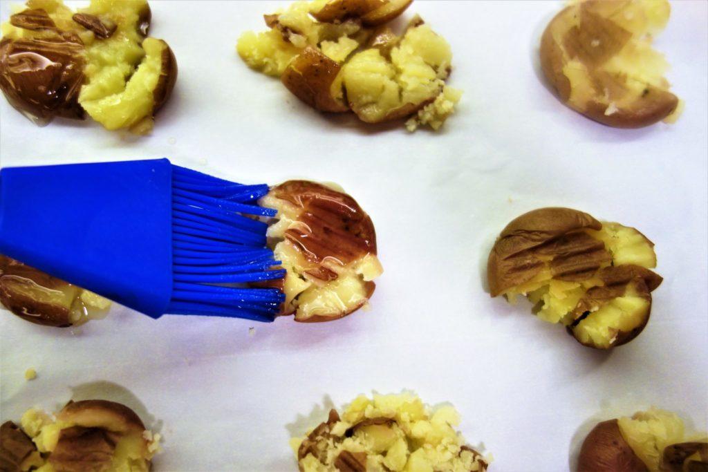 duck fat smashed potatoes