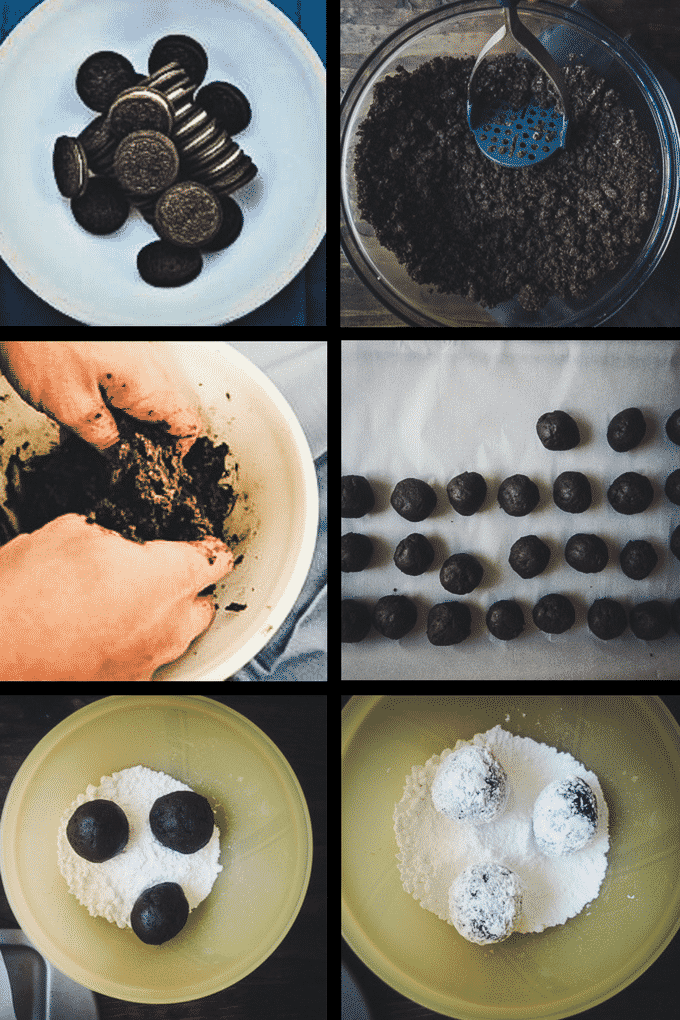step by step process for making oreo balls