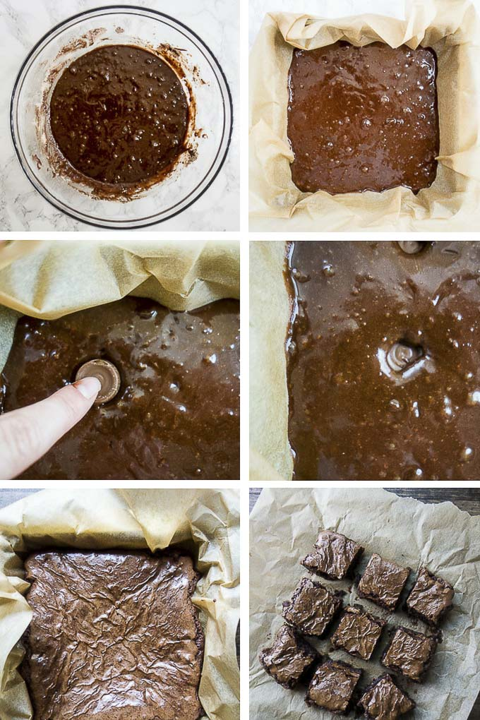 step by step photos for rolo brownies