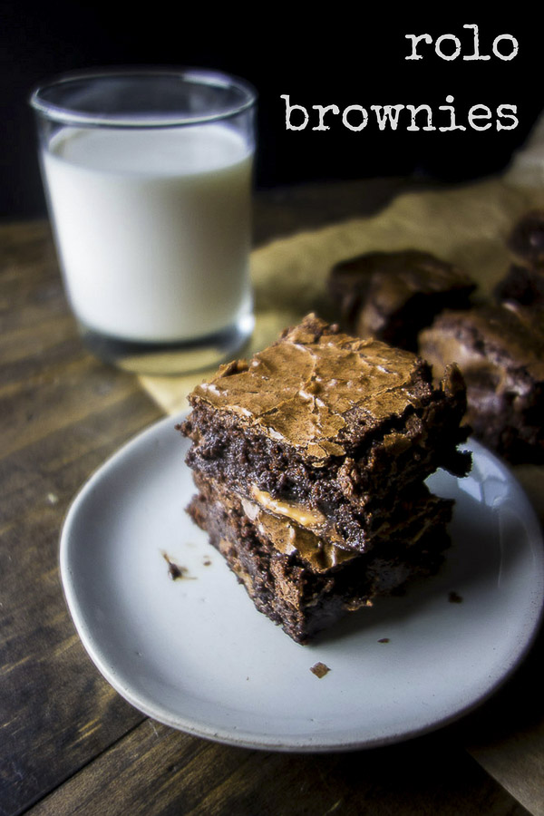 Chewy, chocolaty, rich and decadent Rolo brownies.  Made with Ghirardelli brownie mix and Rolos, this is a super easy recipe that everyone will LOVE!rolo stuffed brownies | chewy brownies | gooey brownies | caramel brownies | fudgy brownies | caramel fudge brownies | easy brownie recipes | brownie mix recipes | rolo recipes