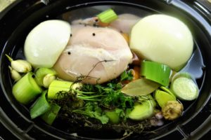 homemade chicken broth