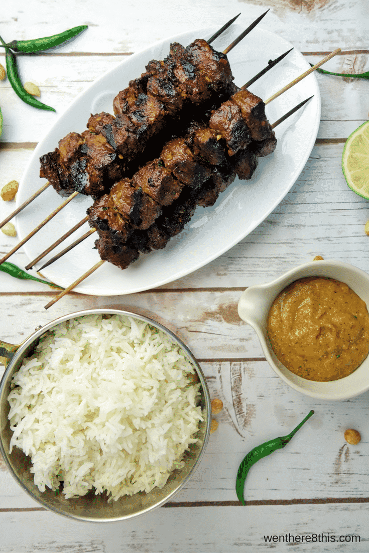 Indonesian Style Beef Satay with Spicy Peanut Dipping Sauce