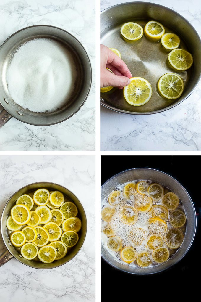 step by step instructions for candying lemon slices