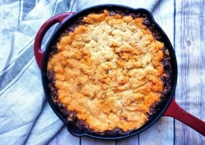 The Best Cast Iron Skillet Cheesy Beef Tamale Pie