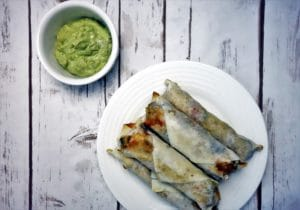 Southwest Egg Rolls with Creamy Bacon Avocado Sauce