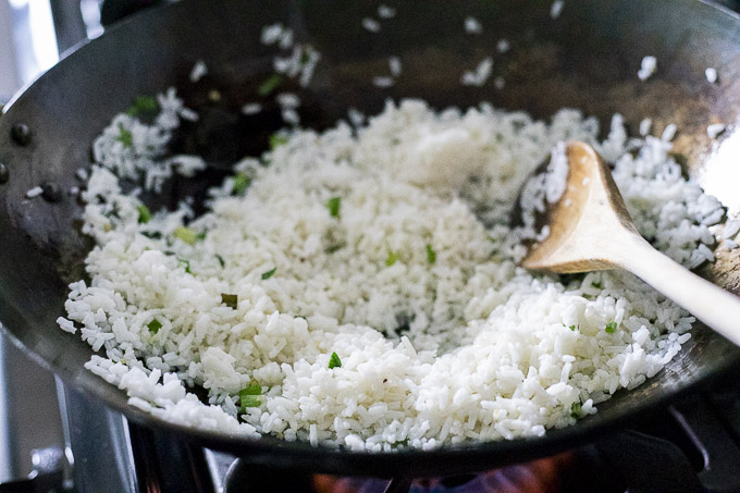 white rice in a wok