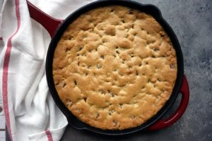Cast Iron Skillet Salted Caramel Chocolate Chip Cookie Pie