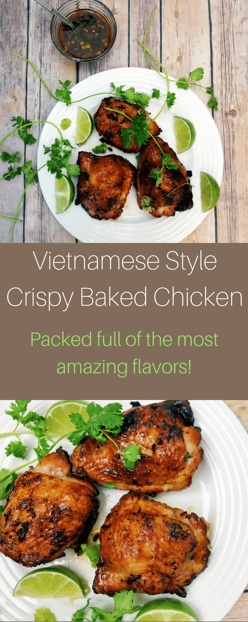 This Vietnamese style baked chicken with crispy skin is packed full of flavor and super simple to make!vietnamese chicken | fish sauce chicken | crispy baked chicken | easy Vietnamese recipe | chicken recipes | best chicken recipes | easy Vietnamese chicken | garlic chicken | crispy baked garlic chicken