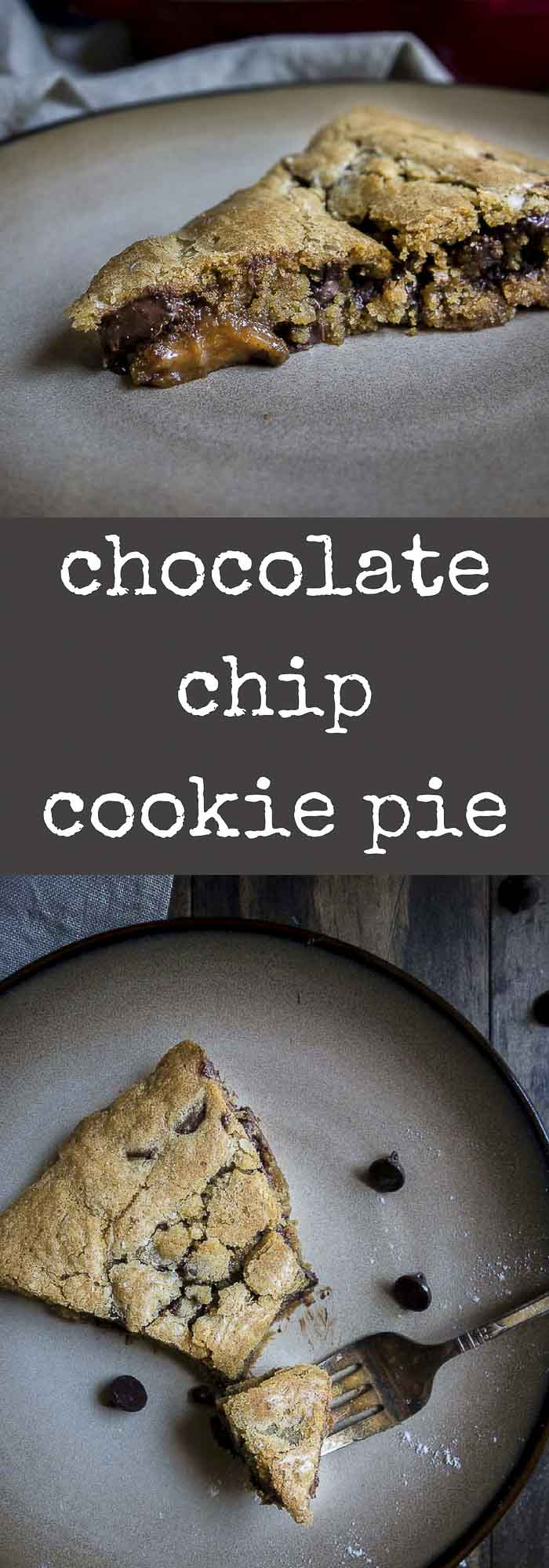 This deep dish chocolate chip cookie pie is sooooo easy to make, filled with dark chocolate & caramel, sprinkled with sea salt, & baked to chewy perfection.deep dish cookie pie | skillet cookie | chocolate chip cookie pizza | chocolate chip cookie | salted caramel cookie | pizookie skillet | chocolate chip cookie with caramel | skillet desserts | easy cookies