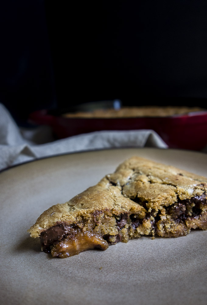 close up of piece of deep dish chocolate chip cookie pie