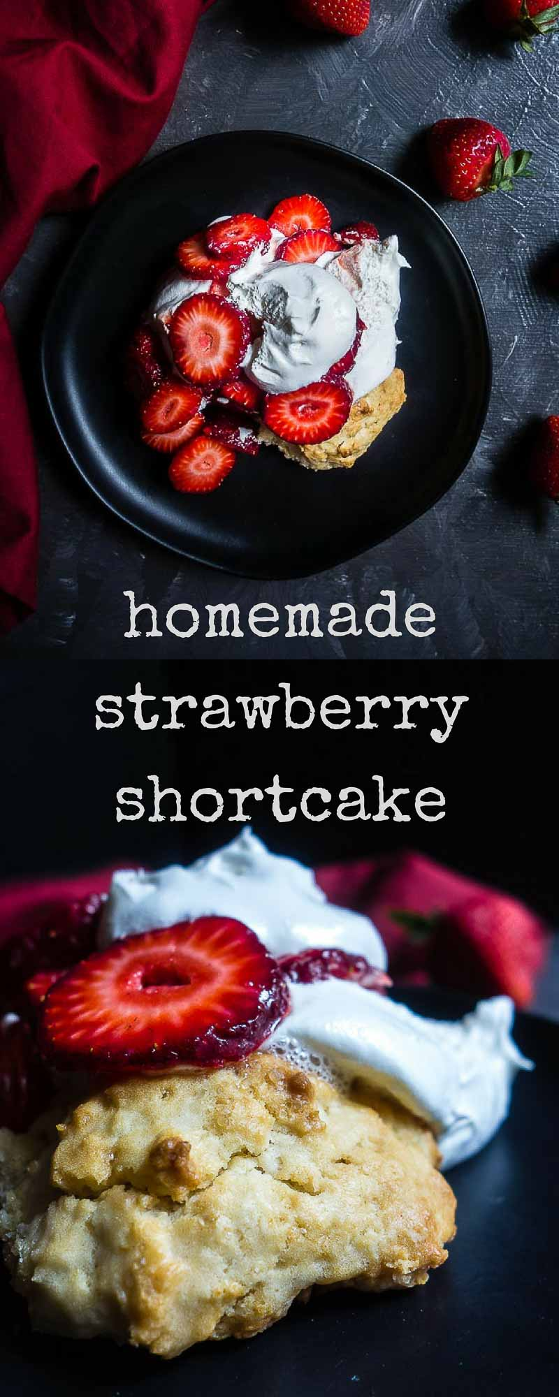 Juicy, ripe strawberries, made from scratch shortcake and homemade whipped cream make this homemade strawberry shortcake one of the best summer treats ever!strawberry recipes | homemade shortcake | from scratch strawberry shortcake | strawberry shortcake biscuits | homemade whipped cream | fresh strawberries | mini strawberry shortcakes