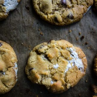 baked smores cookies on parchment paper