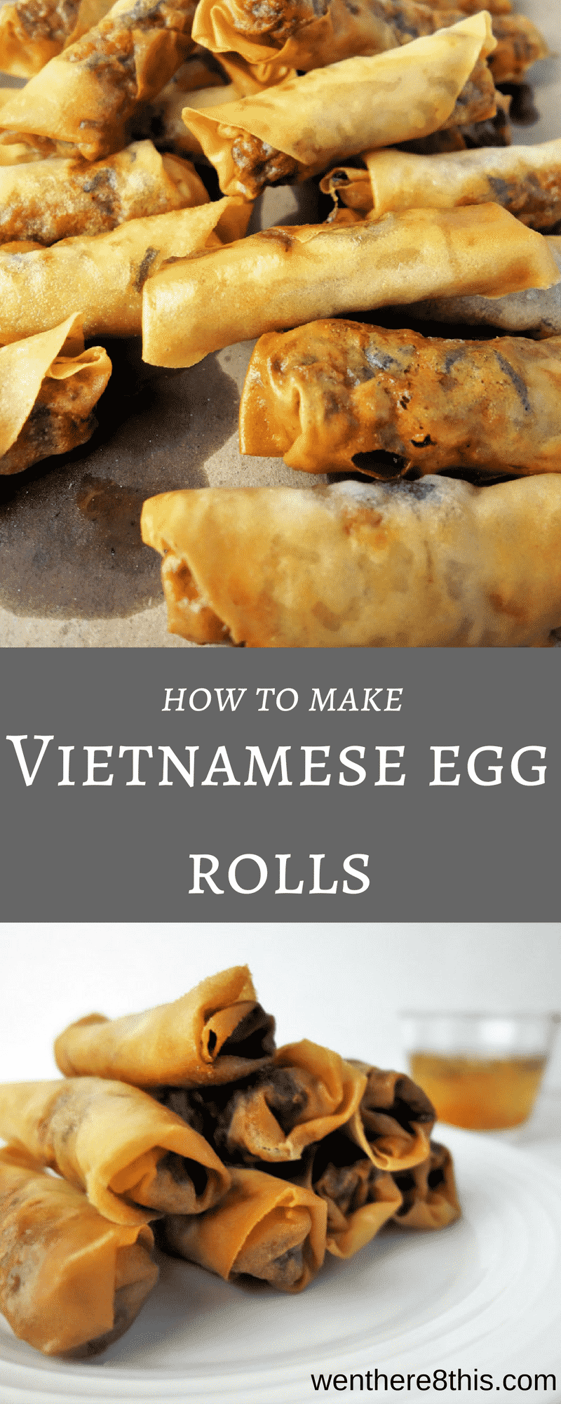 Learn how to make Vietnamese egg rolls with nuoc cham dipping sauce! It\'s impossible to just eat one of these little pieces of heaven. egg roll recipes, easy vietnamese egg rolls, Vietnamese spring rolls, Vietnamese fried spring rolls, Vietnamese fried egg rolls, fried spring rolls easy, fried spring rolls recipe, egg rolls recipes easy