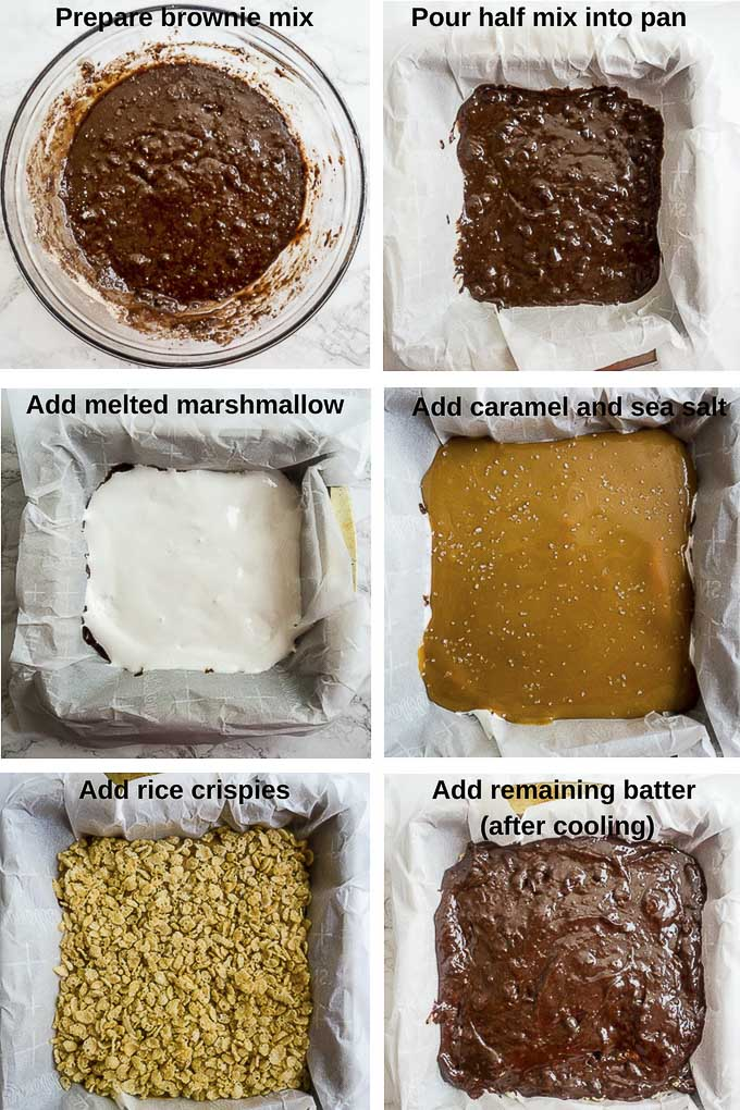 step by step photos for making marshmallow crunch brownies