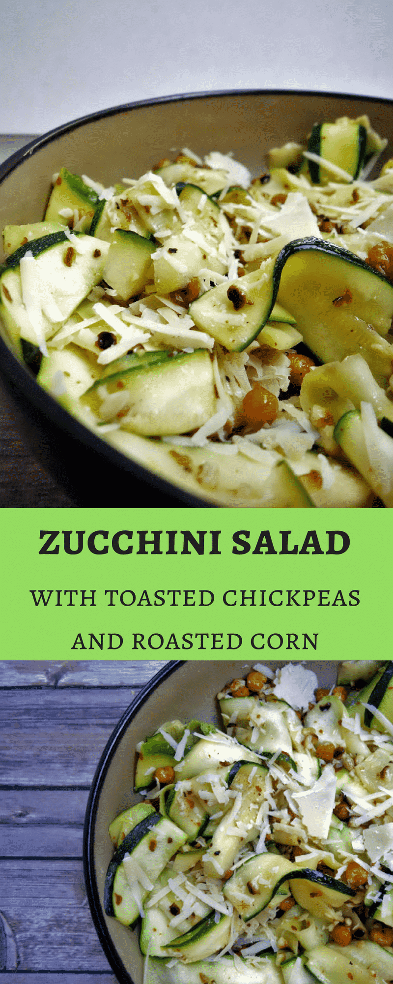 This amazing Zucchini Salad with Toasted Chickpeas and Parmesan Cheese is healthy & easy to make!healthy salad | zucchini salad | fresh lemon and zucchini | toasted chickpeas | parmesan and zucchini salad | salad sundays | lemon marinated zucchini