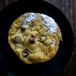 chocolate chip and marshmallow cookie on a plate