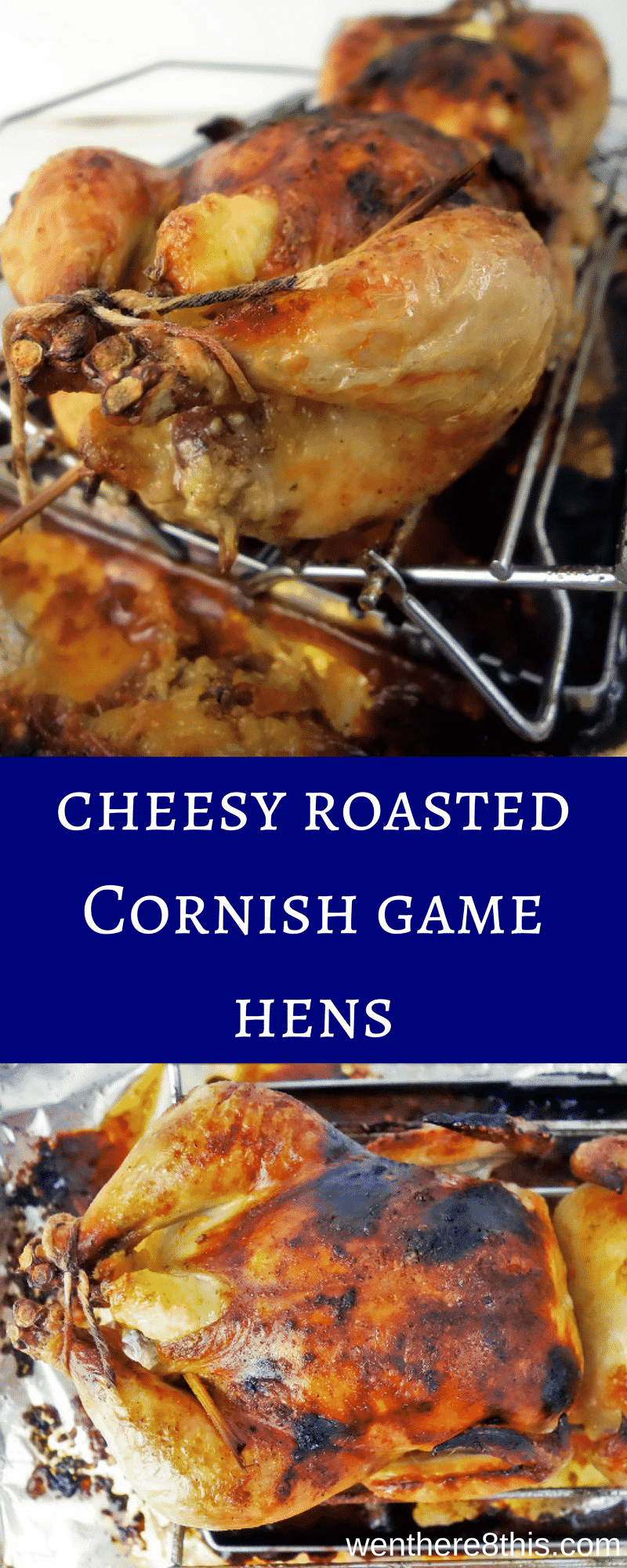 These easy to make Cheesy Roasted Cornish Game Hens are stuffed with cheesy Rice-A-Roni stuffing and roasted until crisp and juicy.Roasted Cornish game hen recipe | cheesy Cornish hens | easy roasted game hens | the best roasted Cornish game hens | easy roasted Cornish hens | Cornish game hen recipes | juicy Cornish game hens | cheesy roasted game hen recipe | easy Cornish game hen recipes | dinner party recipes | fun dinner party ideas