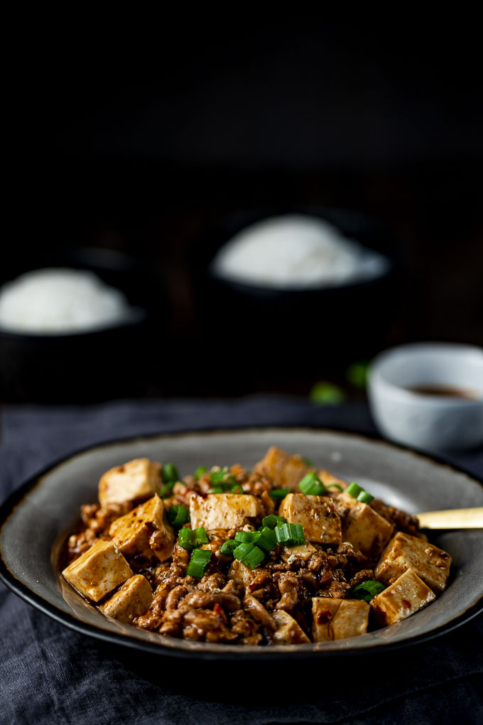 mapo tofu in a bowl with a spoon