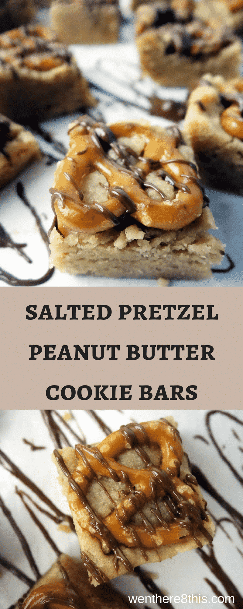 These Salted Pretzel Peanut Butter Cookie Bars take 20 minutes to make start to finish. This easy dessert is great for home or parties!Peanut butter cookie bar recipe | cookie bar recipes | Easy peanut butter cookies | Peanut butter cookie bars easy | peanut butter bars recipe | Salted pretzel peanut butter bars | salted pretzel dessert recipes | peanut butter pretzel bars easy
