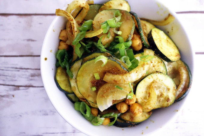 Warm Curried Zucchini and Chickpea Salad - Salad Sunday Series
