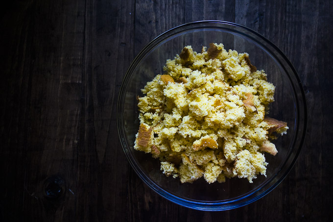 cornbread crumbled in a bowl