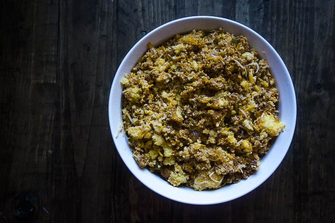 raw spicy cornbread stuffing in a baking dish