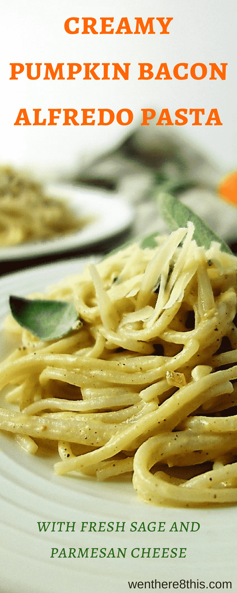 This rich and delicious Creamy Bacon Alfredo Pasta is the perfect autumn dish! Made with gluten free pasta, fresh pumpkin, sage and Parmesan cheese!pumpkin recipes | pumpkin alfredo easy | gluten free pumpkin recipes | 20 minute pasta recipes | creamy pumpkin alfredo | pumpkin pasta | Pumpkin alfredo sauce | gluten free pumpkin alfredo | pumpkin pasta sauce | fall recipes#Tresomega #OrganicsForLife