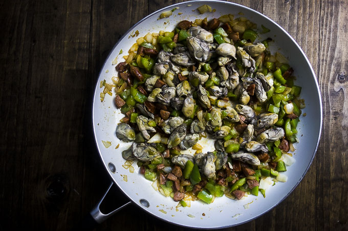 oyster stuffing ingredients in a skillet