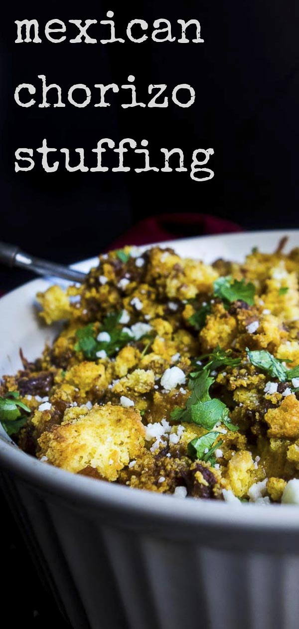 This Mexican Style Chorizo Stuffing is made with sweet cornbread, roasted poblano peppers, melted cheeses, and of course, that deliciously flavor packed pork chorizo. You NEED this Mexican cornbread casserole in your life! This chorizo cornbread stuffing is just packed full of so much flavor - it\'s the perfect stuffing for Thanksgiving dinner! This easy cornbread stuffing is a great alternative to that regular old Thanksgiving stuffing. #cornbreadstuffing