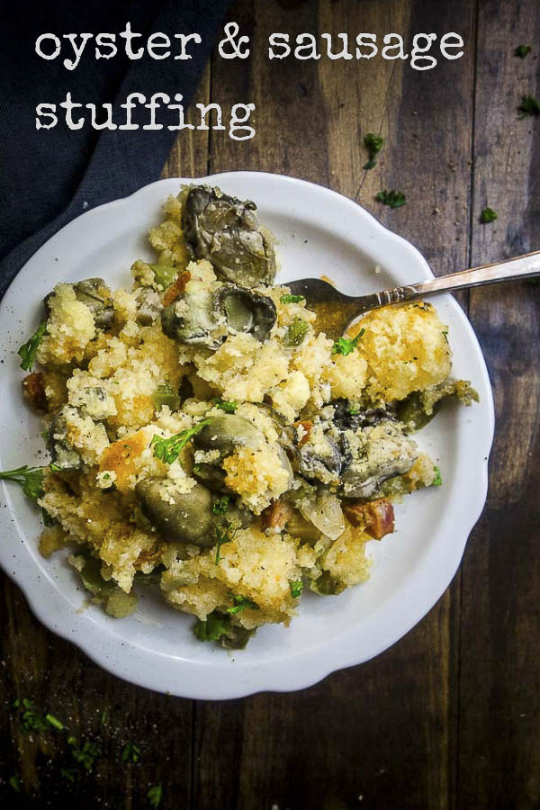This oyster stuffing recipe is super simple to make & will absolutely blow away your guests with deliciously intense flavors! Sausage cornbread stuffing with oysters is something you NEED this holiday season. Super easy to make & packed full of flavor from the sweet cornbread, briny oysters, spicy Andouille sausage & cajun seasonings, this easy oyster stuffing is incredible! #oysterstuffing #thanksgivingrecipes #thanksgivingstuffing #cornbreadstuffing