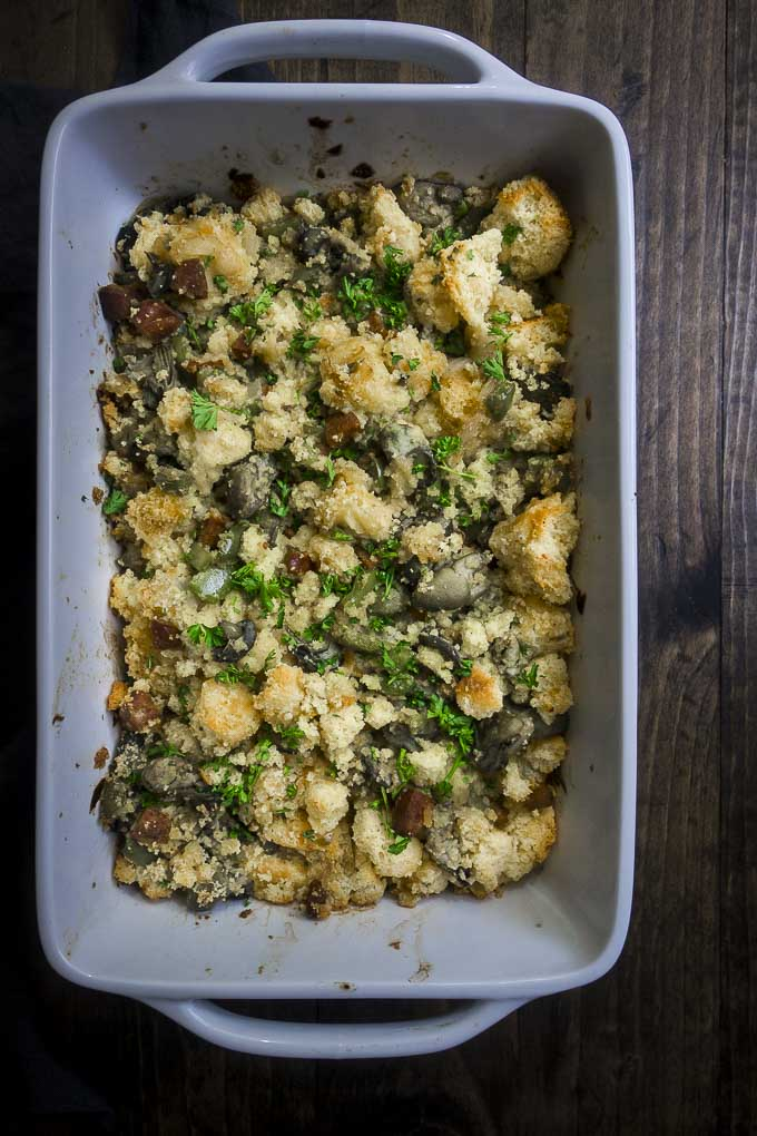 oyster stuffing in a baking dish - oyster stuffing recipe