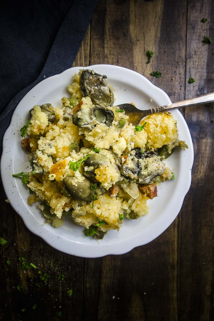 easy oyster stuffing on a plate with a fork - oyster stuffing recipe