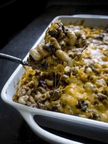 spoonful of baked chili mac casserole