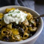 chili mac casserole in a bowl