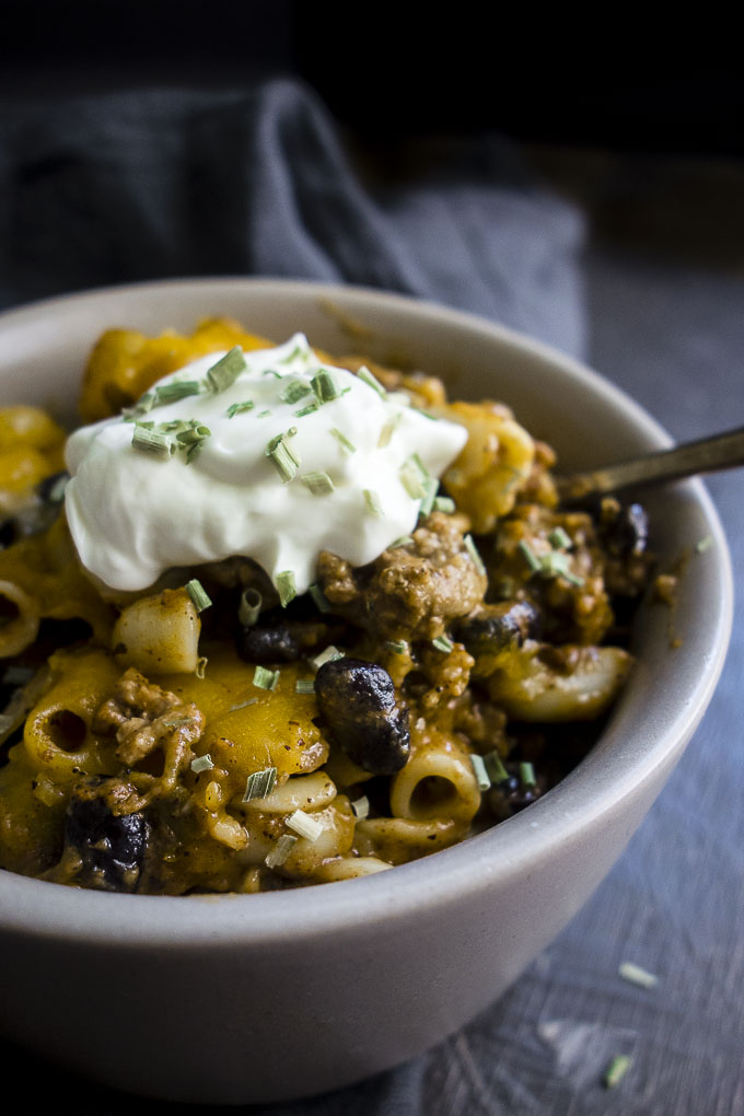 chili mac casserole in a bowl