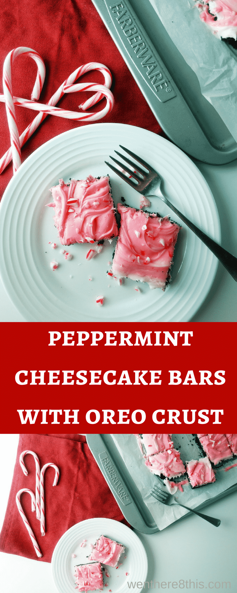 If you like no bake desserts, these no bake peppermint cheesecake bars with Oreo crust are the perfect holiday dessert! Quick, easy and great for parties!peppermint oreo cheesecake | no bake desserts | candy cane cheesecake | peppermint swirl cheesecake | oreo crust | no bake peppermint cheesecake | Christmas desserts | no bake cheesecake | mint chocolate | chocolate peppermint cheesecake