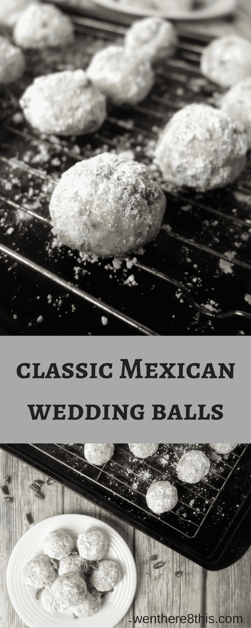 These classic Mexican Wedding Balls are super easy to make with only 6 ingredients. Filled with pecans are coated with powdered sugar, they are YUM!southern pecan balls | Mexican wedding cookies | pecan cookie balls | Russian tea cakes | snowball cookies | Christmas cookies | pecan cookies | shortbread cookies | pecan balls | Russian cookies