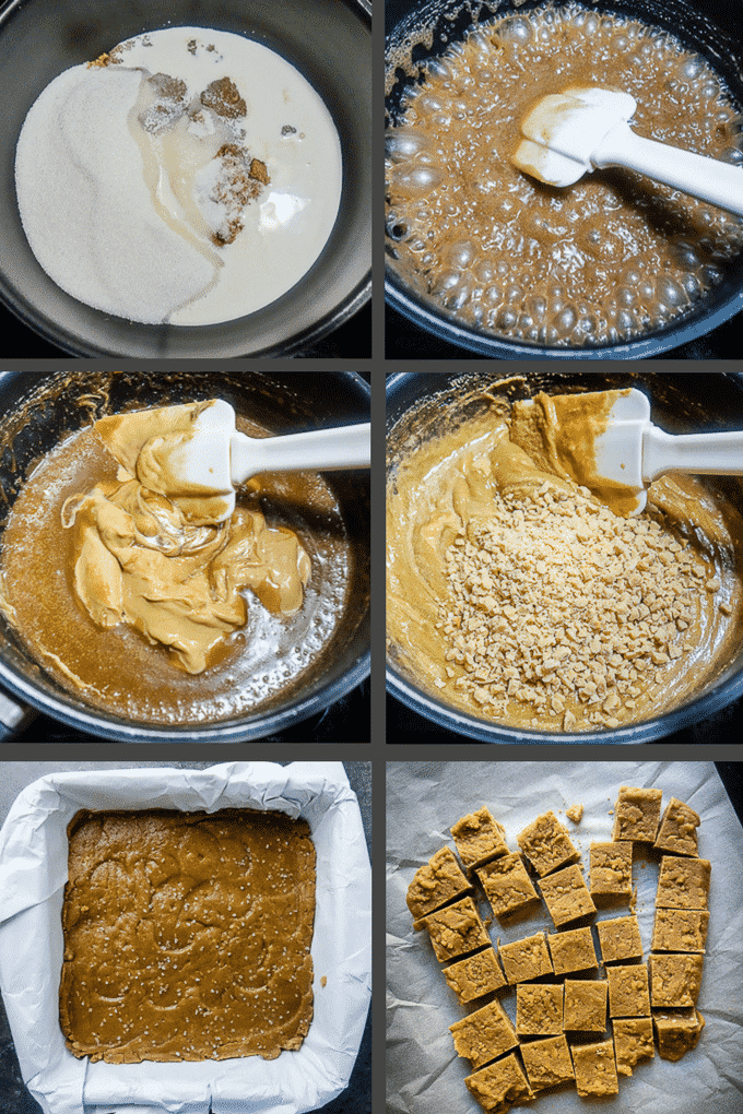 step by step process for making salted toffee peanut butter fudge