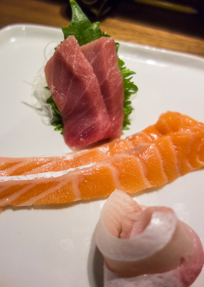 A plate of belly, salmon, toro and hamachi - Himitsu