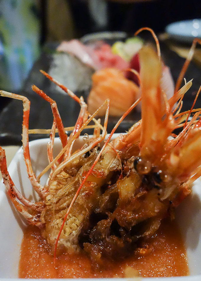 best sushi in san diego, fried sweet shrimp head (amaebi) in sauce