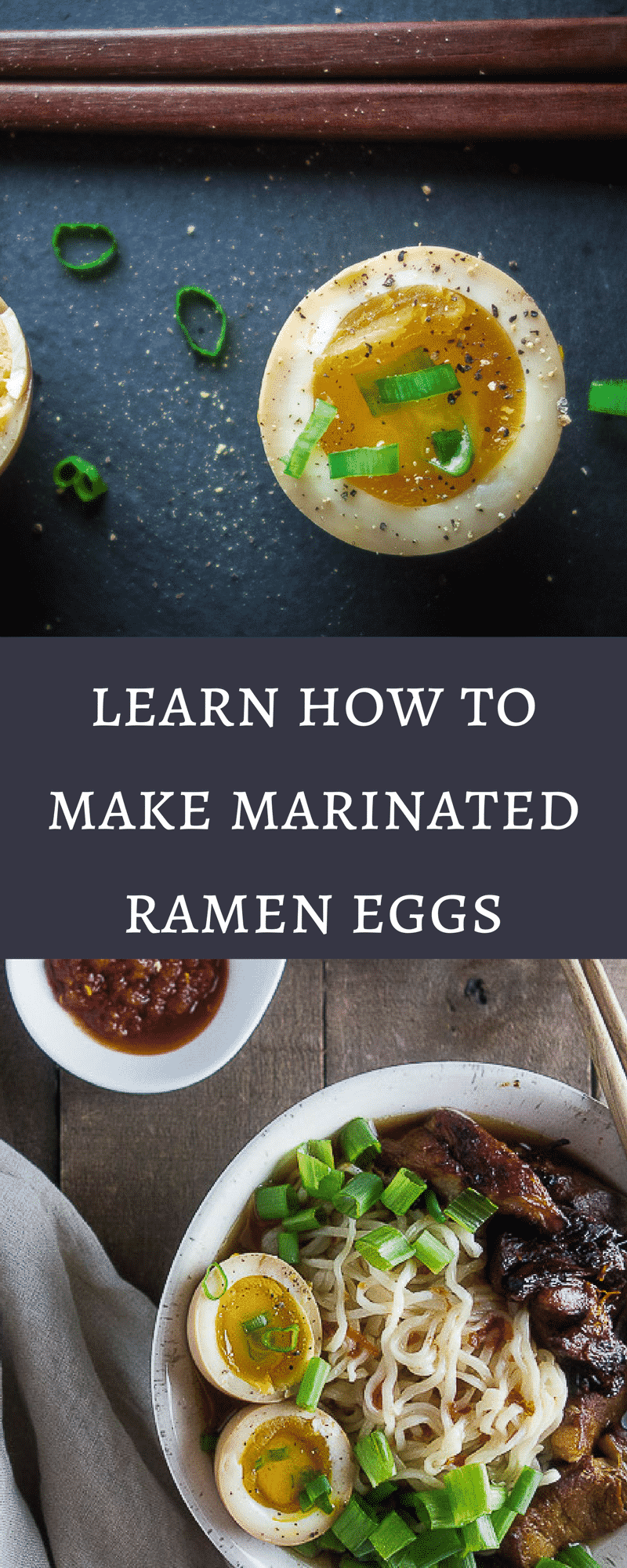 Learn how to make marinated ramen eggs with that gooey yolky center and delicious umami flavor. Perfect for that bowl of ramen, or just as a snack! ramen egg recipe | marinated soy sauce eggs | how to make ramen eggs | how to soft boil eggs | easy ramen eggs | japanese ramen eggs | japanese soy sauce eggs | ajitsuke tamago | healthy eggs | shoyu tamago