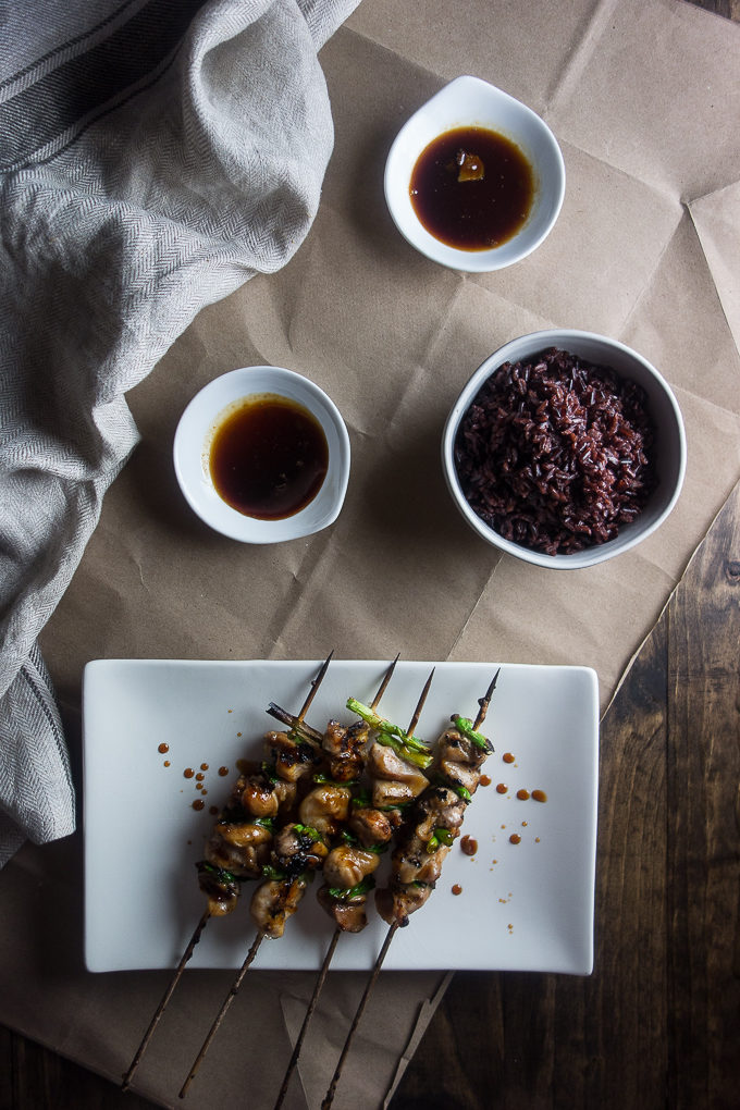 Yakitori Chicken Thighs with Green Onion, grilled chicken skewers with green onions and dipping sauce