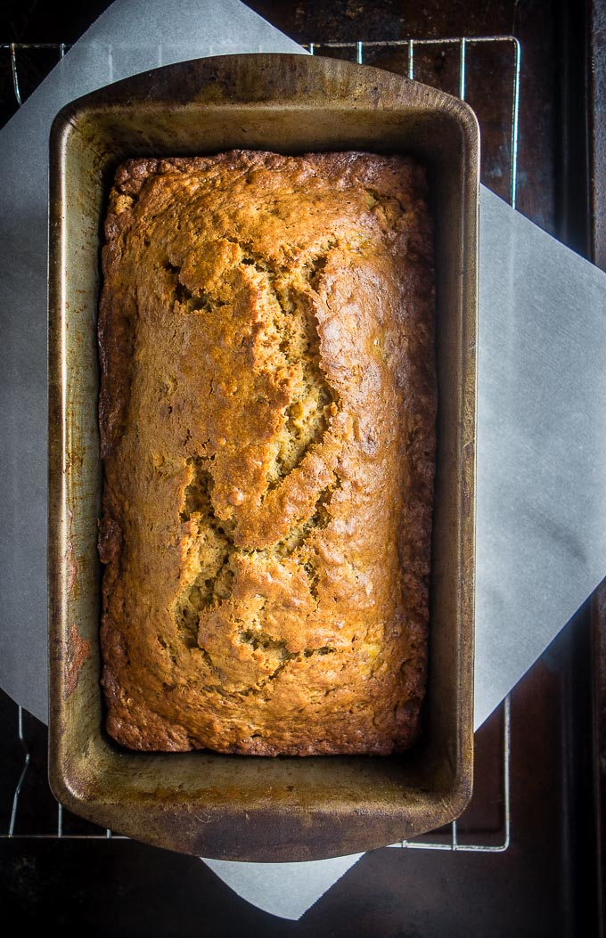 easy caramelized banana bread in a loaf pan