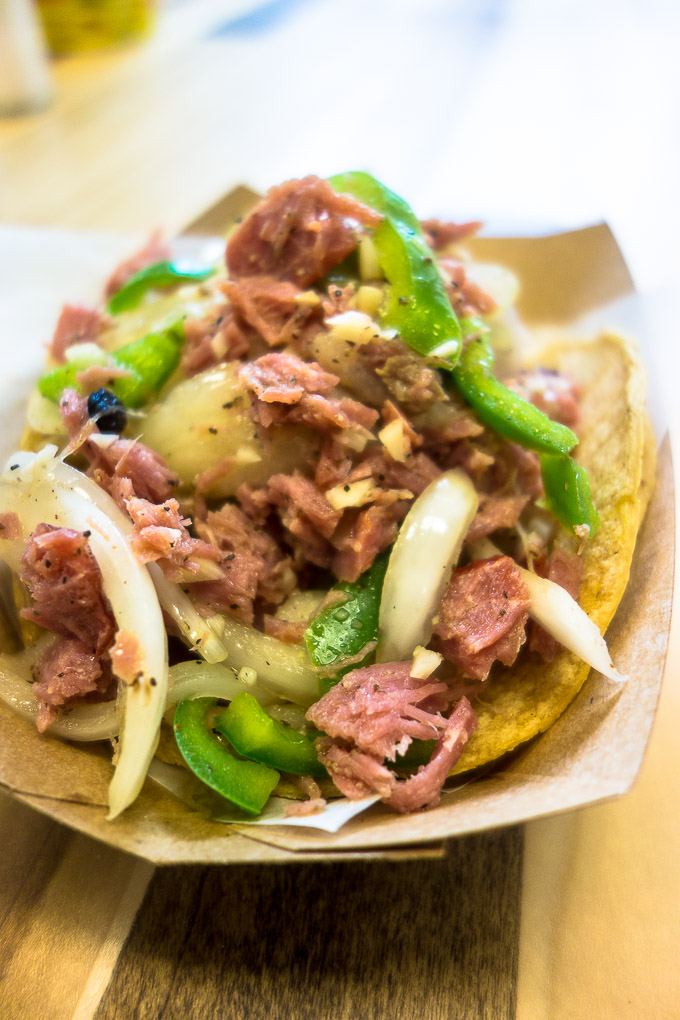 smoked tuna taco with onions and peppers, tacos in downtown san diego