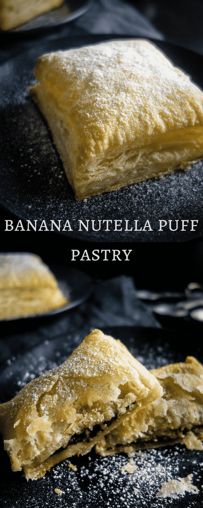 Filled with creamy Nutella, sweet, ripe bananas and baked until the puff pastry is browned and warm and gooey on the inside, these Banana Nutella Pastries are super easy to make.nutella puff pastry | nutella pastries | banana pastries | puff pastry desserts | 3 ingredients desserts | banana desserts | nutella desserts | banana nutella puff pastry | banana nutella hand pies | banana nutella hot pocketss