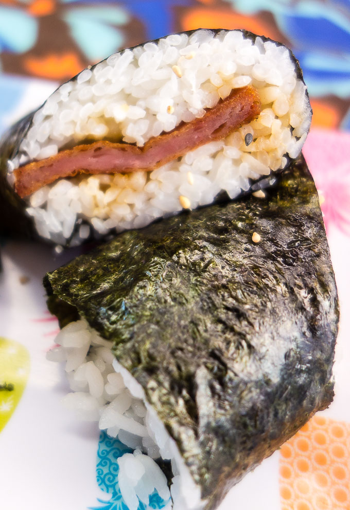 spam rolled in rice and nori at matua's sushi bar