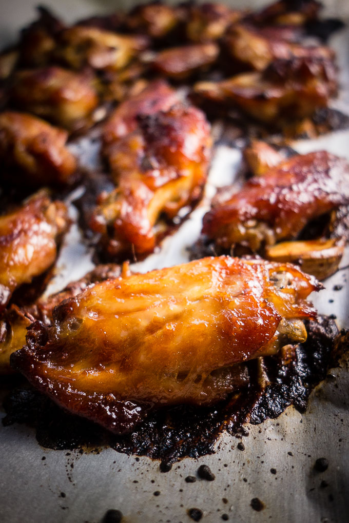 baked chicken wings on a baking sheet from oven